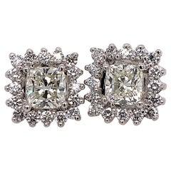 GIA Certified 2.23 Carat Natural Cushion Cut Pair J-K VS2 Diamond Gold Earrings