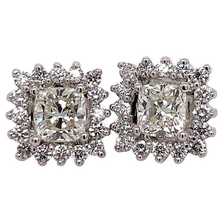 GIA Certified 2.23 Carat Natural Cushion Cut Pair J-K VS2 Diamond Gold Earrings For Sale