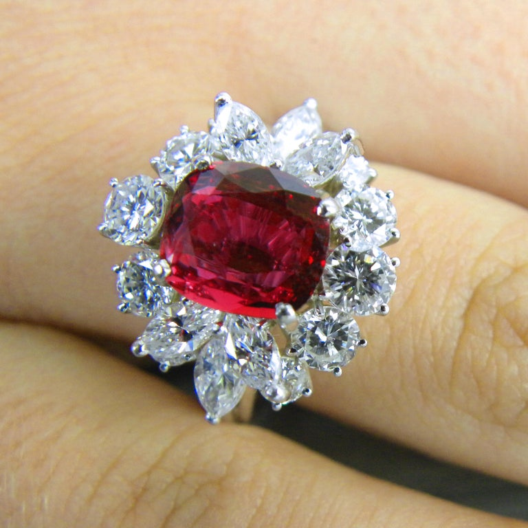 GIA Certified 2.23 Carat No Heat Cushion Cut Siam Red Ruby 1960s Ballerina Ring 5