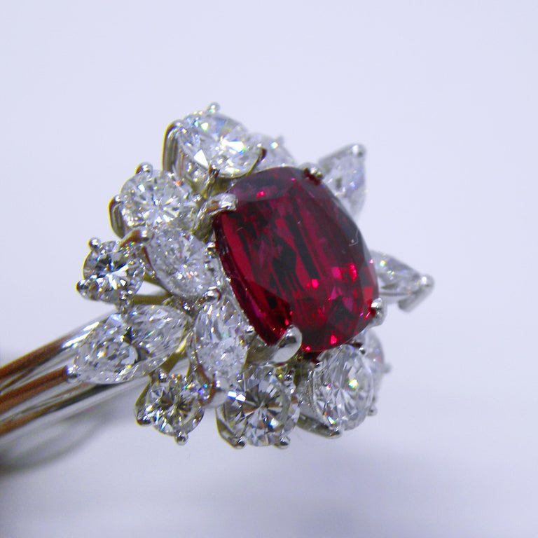 GIA Certified 2.23 Carat No Heat Cushion Cut Siam Red Ruby 1960s Ballerina Ring 6