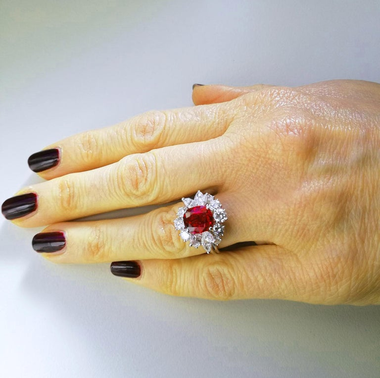 Modern GIA Certified 2.23 Carat No Heat Cushion Cut Siam Red Ruby 1960s Ballerina Ring