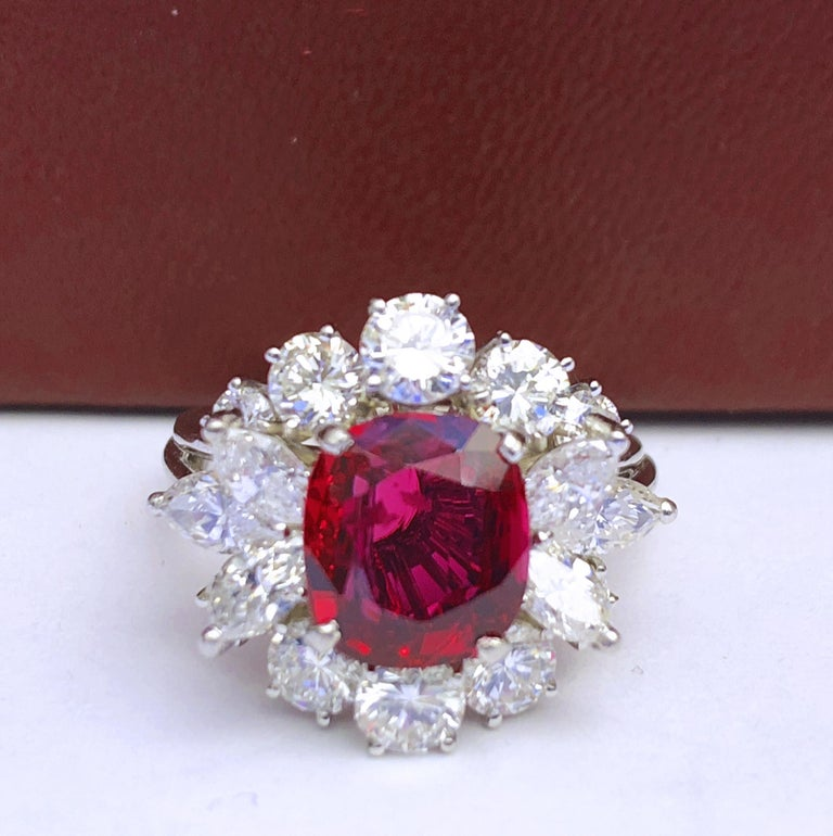 GIA Certified 2.23 Carat No Heat Cushion Cut Siam Red Ruby 1960s Ballerina Ring In New Condition In Valenza, IT