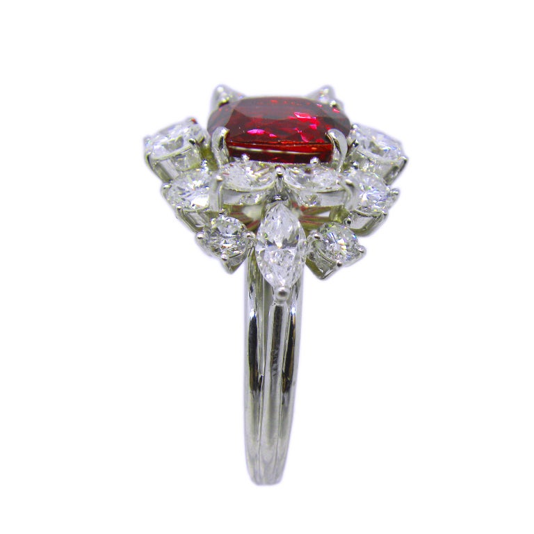 Women's GIA Certified 2.23 Carat No Heat Cushion Cut Siam Red Ruby 1960s Ballerina Ring