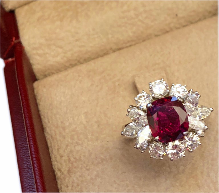 GIA Certified 2.23 Carat No Heat Cushion Cut Siam Red Ruby 1960s Ballerina Ring 1