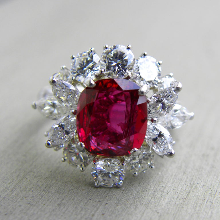 GIA Certified 2.23 Carat No Heat Cushion Cut Siam Red Ruby 1960s Ballerina Ring 3