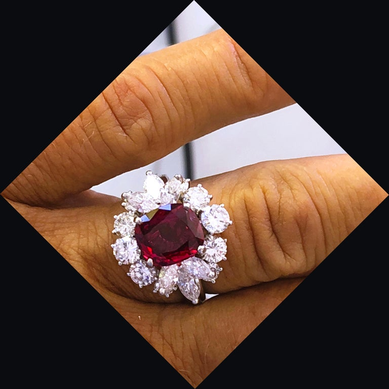 GIA Certified 2.23 Carat No Heat Cushion Cut Siam Red Ruby 1960s Ballerina Ring 4