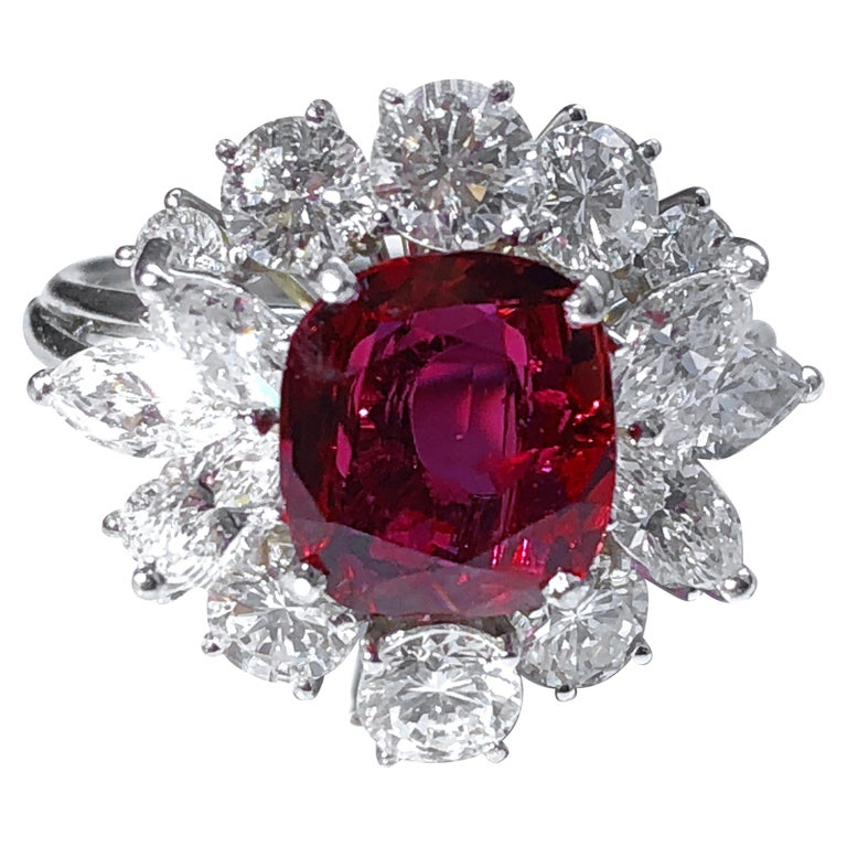 GIA Certified 2.23 Carat No Heat Cushion Cut Siam Red Ruby 1960s Ballerina Ring