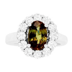 GIA Certified Oval Natural Color Changing Alexandrite Flower Engagement Ring