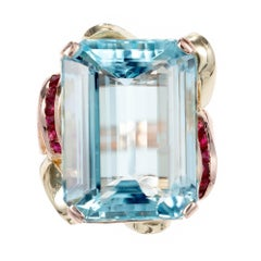 GIA Certified 22.38 Carat Aqua Ruby Yellow Rose Gold Cocktail Ring