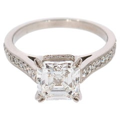 GIA Certified 2.24 Carat Asscher Cut Diamond Engagement Ring