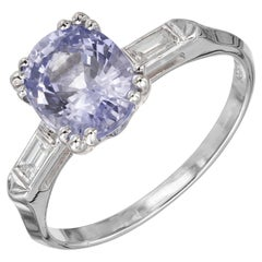 GIA Certified 2.24 Carat Blue Sapphire Diamond Platinum Engagement Ring