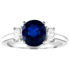 GIA Certified 2.24 Carat Cushion Blue Sapphire Diamond Three-Stone Gold Ring