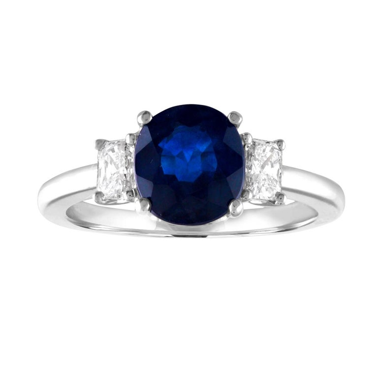 GIA Certified 2.24 Carat Australian Blue Sapphire Diamond Three-Stone Gold Ring