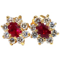 GIA Certified 2.24 Carat Natural Ruby Diamonds Cluster Earrings 18 Karat