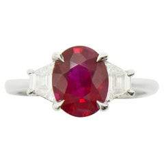 GIA Certified 2.25 Carat Burma Ruby Engagement Ring Solitaire Pigeon Blood Red