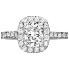 GIA Certified 2.25 Carat Cushion Cut Diamond Halo Engagement Ring