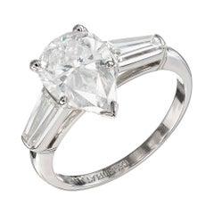 GIA Certified 2.25 Carat Diamond Platinum Three-Stone Engagement Ring