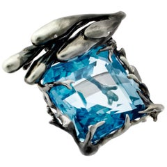 GIA Certified 22.59 Carat Aquamarine 18 Karat Black Gold Ring Feat. in Vogue