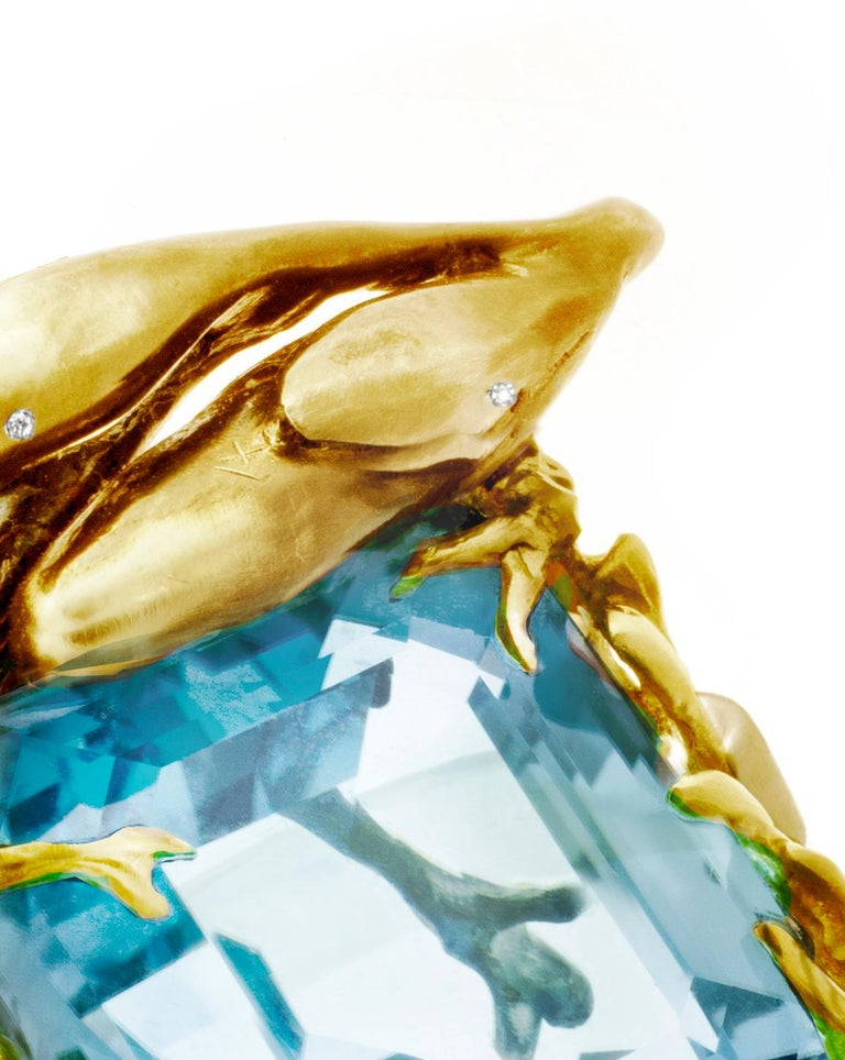 GIA Certified 22.59 Carat Aquamarine 18 Karat Yellow Gold Ring Featured in Vogue For Sale 1