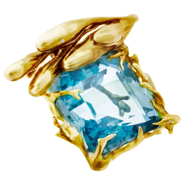 GIA Certified 22.59 Carat Aquamarine 18 Karat Yellow Gold Ring Featured in Vogue For Sale