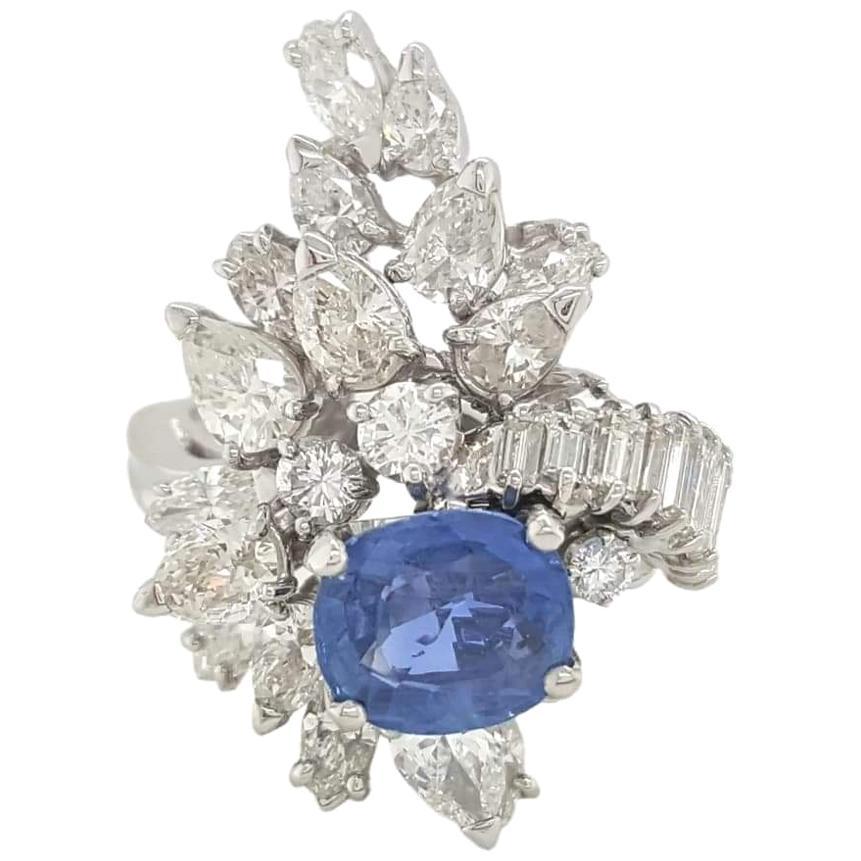 GIA Certified 2.26 Carat Burma Sapphire Diamond Platinum Cocktail Ring