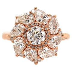 GIA Certified 2.26 Carat Round and Pear Diamond Ring