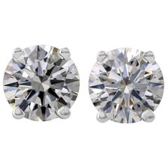 Flawless D Color 2 Carat Diamond Studs 18 Carat White