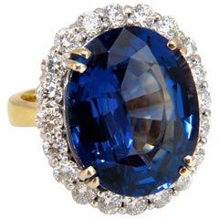 GIA Certified 22.61ct natural Blue Tanzanite diamonds ring 18kt Halo Royale