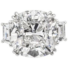 GIA Certified 22.62 Carat Cushion Cut Diamond Three-Stone Engagement Ring