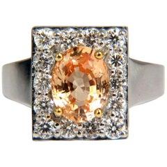 GIA Certified 2.26Ct Natural Yellow Orange Natural Sapphire Diamonds Ring 14kt