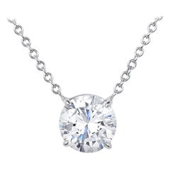 GIA Certified 2.27 Carat Round Brilliant Cut Diamond Pendant Necklace
