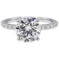 GIA Certified 2.27 Round Diamond Solitaire 14 Karat White Gold Engagement Ring