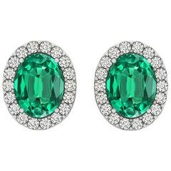 GIA Certified 2.28 Carat Oval Emerald Earrings