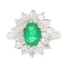 GIA Certified 2.29 Carat Emerald Diamond 18 Karat White Gold Engagement Ring
