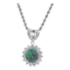GIA Certified 2.29 Carat Opal Diamond Halo Platinum Pendant Necklace