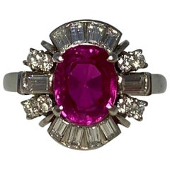 GIA Certified 2.29 Carat Untreated Burmese Ruby & Diamond Platinum Cocktail Ring