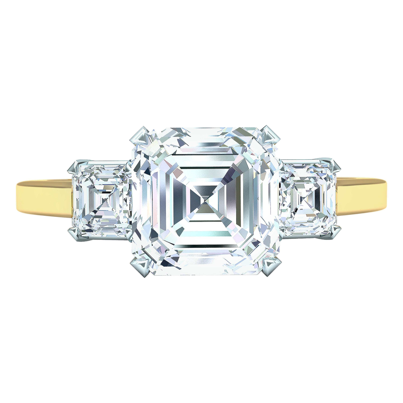 GIA Certified 2.30 Carat D-VS2 Asscher Three-Stone Ring