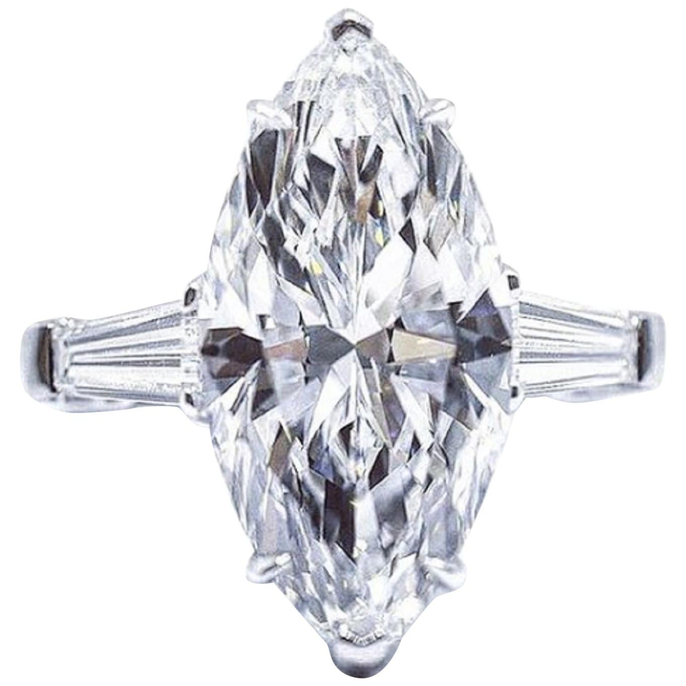 I FLAWLESS GIA Certified 2.65 Carat E Color Platinum Ring