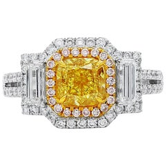 GIA Certified 2.30 Carat Natural Untreated Fancy Deep Yellow Diamond Ring
