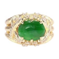 GIA Certified 2.30ct Type A Imperial Jadeite Jade 18K Rose / Yellow Gold Ring