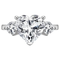 GIA Certified 2.65 Carat Heart Shape Diamond Three-Stone Engagement Ring