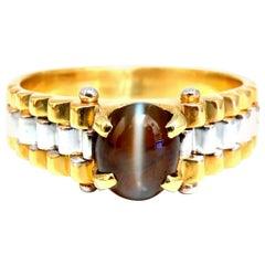 GIA Certified 2.31 Carat Natural Cats Eye Rolexx Band Ring 18 Karat Gold