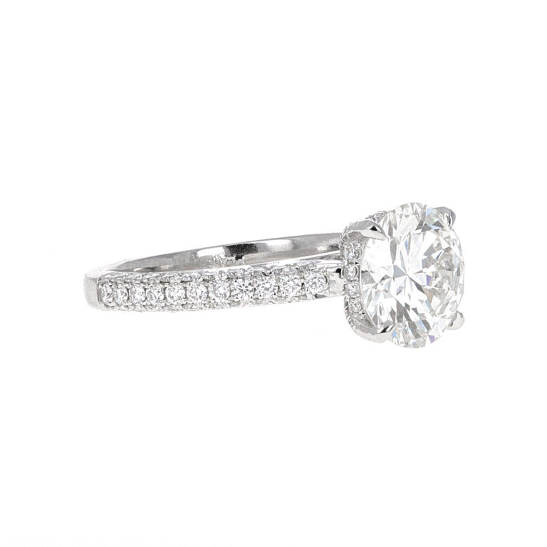 GIA Certified, hand made 2.32 carat H- VVS2 round brilliant diamond engagement ring. The center stone has been certified by the Gemoligicial Institute of America, GIA. The certificate states that the stone is a round brilliant cut diamond weighing