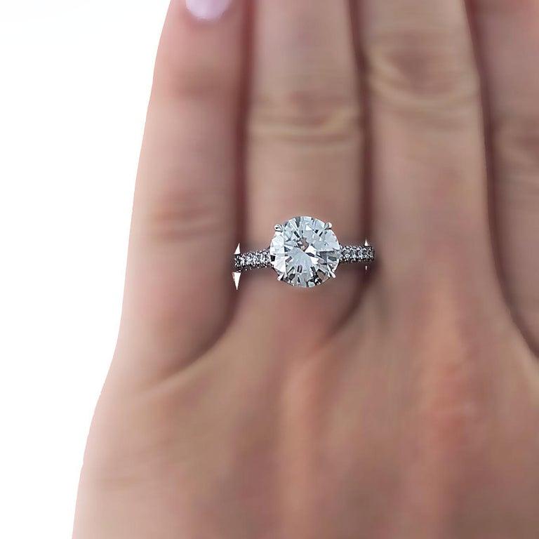 Round Cut GIA Certified, 2.32 Carat H- VVS2 Round Brilliant Diamond Engagement Ring