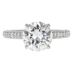 GIA Certified, 2.32 Carat H- VVS2 Round Brilliant Diamond Engagement Ring