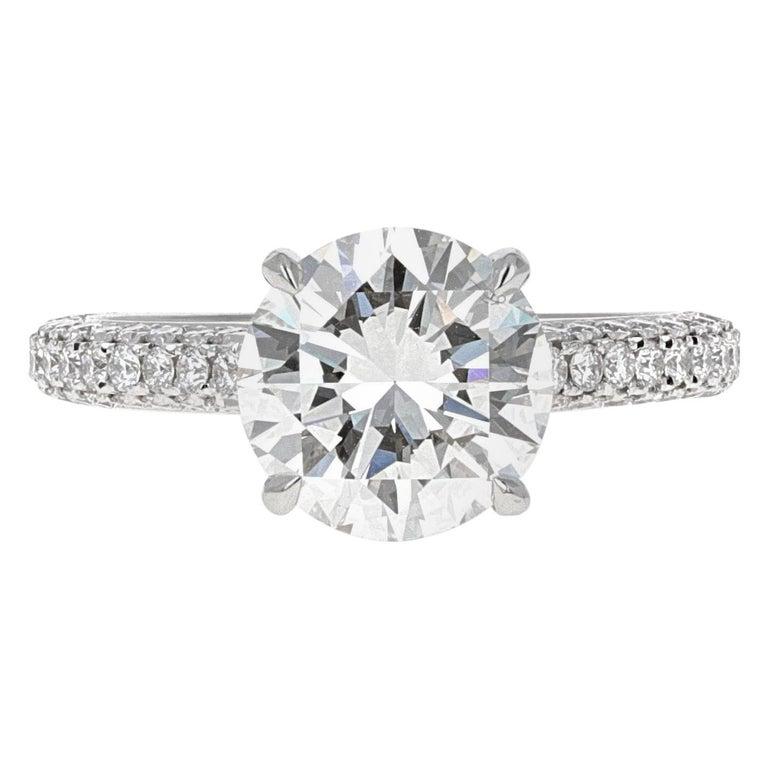 GIA Certified, 2.32 Carat H- VVS2 Round Brilliant Diamond Engagement Ring