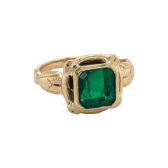 GIA Certified 2.33 Carat Emerald Antique Yellow Gold Ring