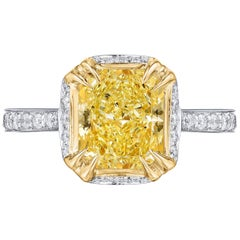 GIA Certified 2.33 Carat Fancy Yellow Radiant Diamond Ring in Platinum