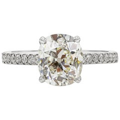 GIA Certified 2.36 Carat Cushion Brilliant Cut Diamond Pave Engagement Ring