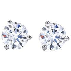 GIA Certified 2.36 Carat Round Brilliant Cut Diamond Studs D Color Eye Clean